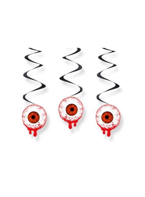 3 espirales colgantes rojos con ojos sangrientos - Halloween - comprar