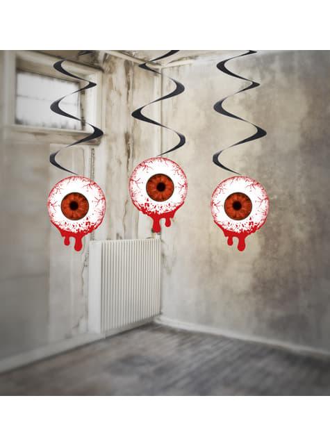 3 espirais vermelhas com olhos sangrentos de pendurar - Halloween