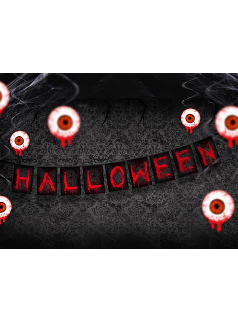 3 spirales à suspendre rouges avec yeux sanglants - Halloween
