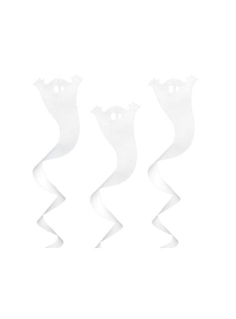 Espiral branca de pendurar em forma de fantasma - Halloween