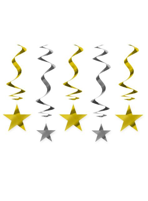 5 espirales colgantes dorados y plateados con estrellas - New Year & Carnival - para tus fiestas