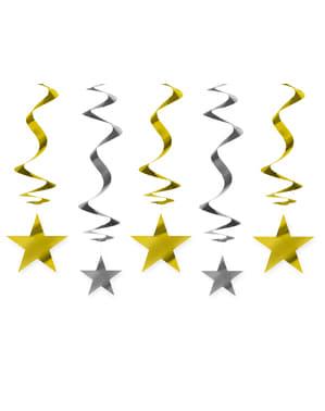 5 suspensions spirales dorées et argentées étoiles - New Year & Carnival