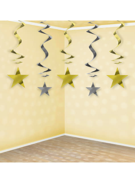 5 hanging spirals in gold and silver with stars - New Year & Carnival