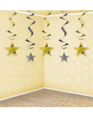 5 roikkuvaa spiraalia kulta ja hopeatähdillä - New Year & Carnival