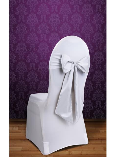 10 dekoracje krzeseł biała kokarda