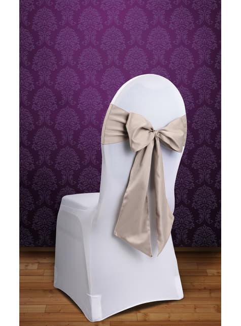10 dekoracje krzeseł beżowa kokarda