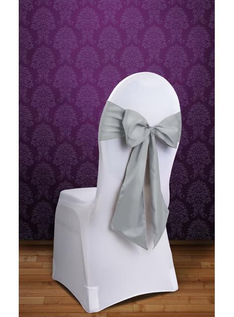 10 dekoracje krzeseł srebrna kokarda