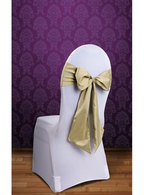 10 dekoracje krzeseł złota kokarda
