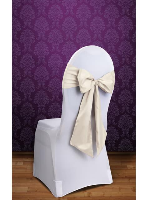10 lazos blanco roto para sillas - para tus fiestas