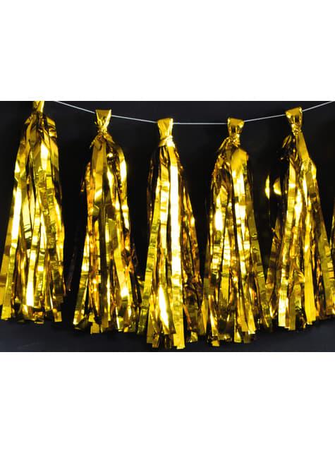 Guirnalda de flecos dorados - para tus fiestas