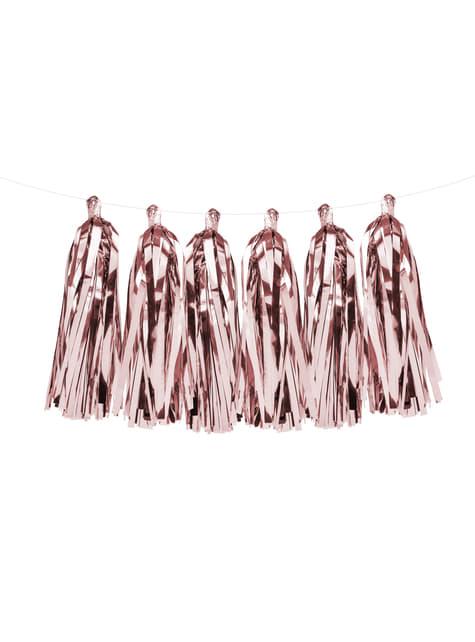 Guirnalda de flecos oro rosa - decoración de fiesta