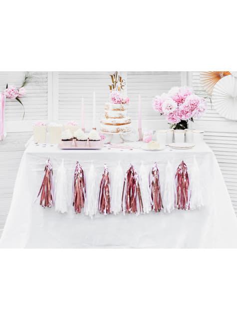Guirnalda de flecos oro rosa - para tus fiestas