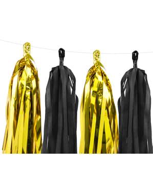 Guirnalda de flecos negros y dorado