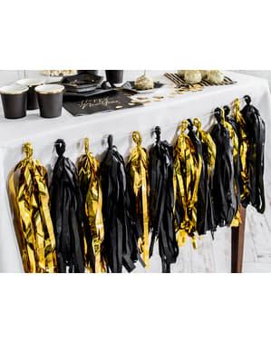 Girlang med fransar svart och guldfärgad