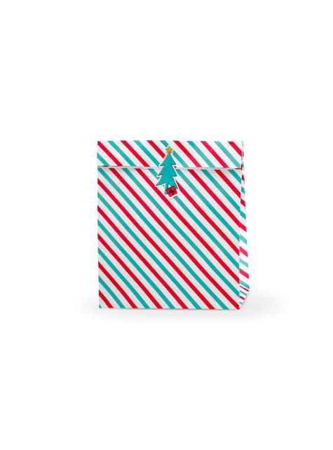 3 torebki na prezenty w czerwone i zielone paski