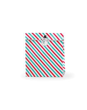 """Sada 3 darčekových tašiek """"Merry Xmas"""" s červenými a zelenými pruhmi"""