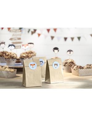 6 saquinhos de papel Kraft com autocolantes - Woodland