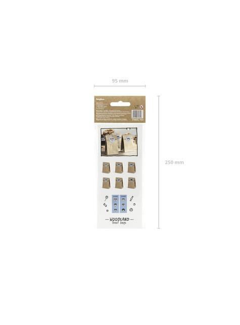 6 sachets en papier Kraft avec stickers - Woodland