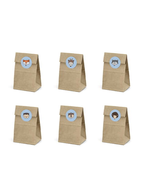 6 Kraft Paper Treat Bags with Stickers  - Woodland