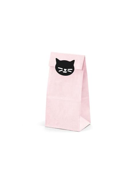 6 bolsas rosas de papel con pegatinas - Meow Party