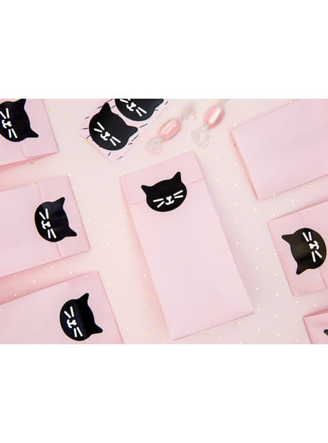 6 bolsas rosas de papel con pegatinas - Meow Party - barato