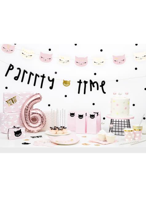 6 bolsas rosas de papel con pegatinas - Meow Party - comprar