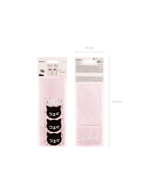 6 bolsas rosas de papel con pegatinas - Meow Party - original