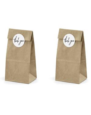 6 bolsas de papel Kraft con pegatinas