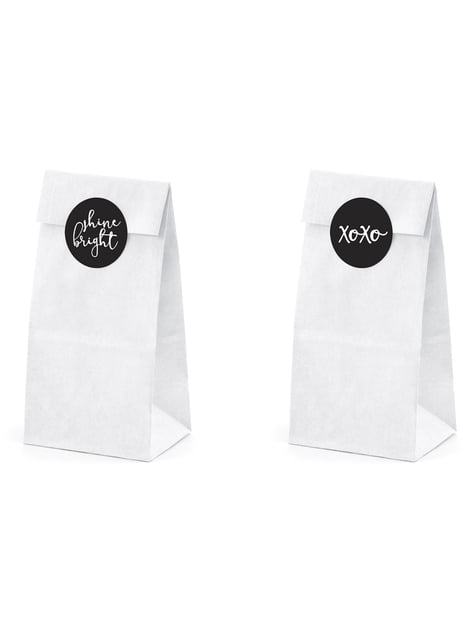 6 sacchetti di carta bianchi con adesivi assortiti - Diamond Collection