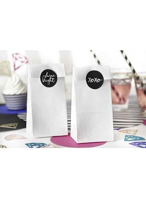 6 bolsas de papel blancas con pegatinas variadas - Diamond Collection