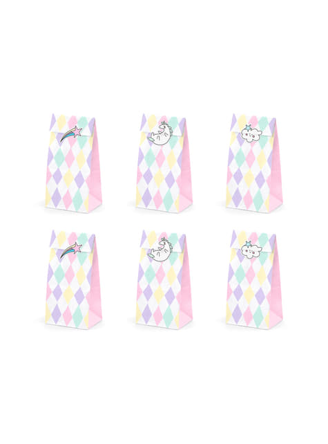 Set of 6 Multicolor Print Paper Treat Bags with Unicorn Stickers - Unicorn Collection