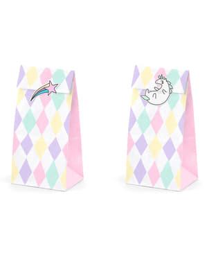 6 kolorowe papierowe torebki na przysmaki naklejki z jednorożcem - Unicorn Collection