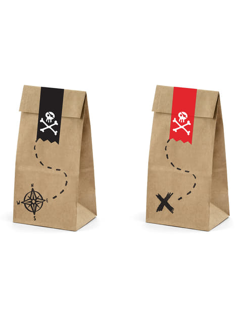 6 bolsas piratas de papel Kraft con pegatinas piratas - Piratas Party