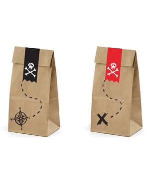 Sett med 6 Kraft Papir Godteposer med Pirat Klistremerker - Pirats Party