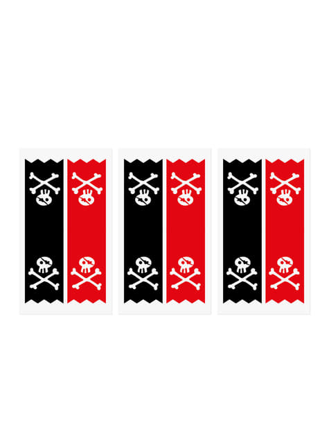 Conjunto de 6 saquinhos piratas de papel Kraft com autocolantes piratas - Piratas Party