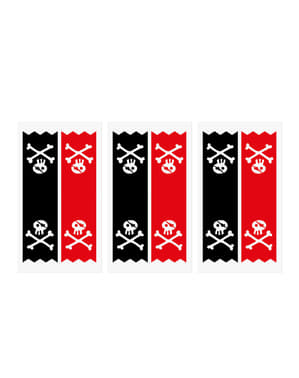 6 sachets pirates en papier Kraft avec stickers pirates - Piratas Party