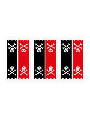 Set 6 tašek na dárky z krepového papíru s pirátskými nálepkami - Pirates Party