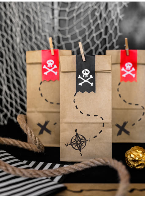 6 Kraft Paper Treat Bags with Pirate Stickers - Pirates Party
