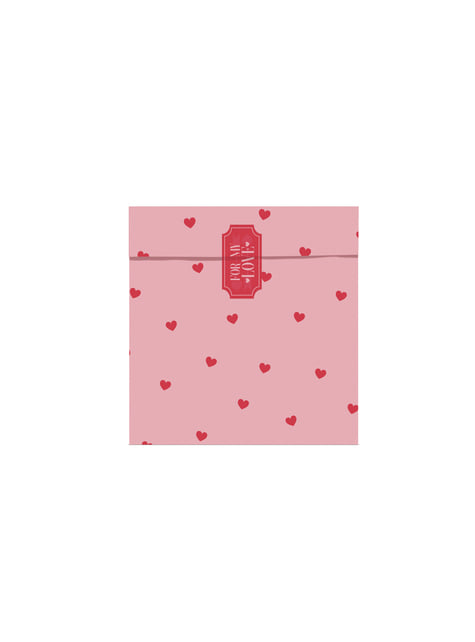 6 bolsas rosas y rojas con corazones de papel - Valentines Collection