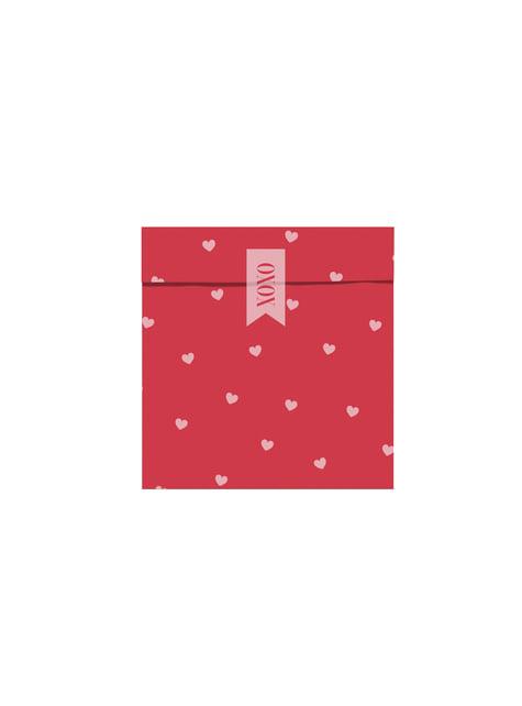 6 sacchetti  rosa e rossi con cuori di carta - Valentines Collection