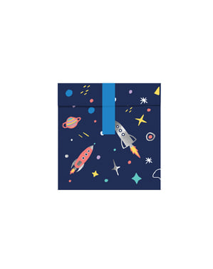 6 moniväristä, avaruusteemaista, tulostinpaperista herkkupussia - Space Party