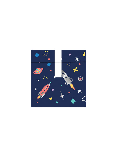 6 bolsas estampado multicolor de espacio de papel - Space Party - para decorar todo durante tu fiesta