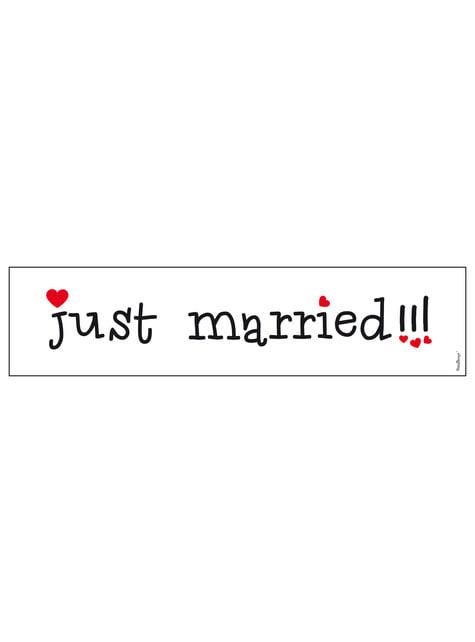 """Svatební poznávací značka na auto """"Just married"""" se srdíčky"""