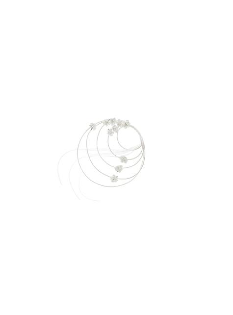 Conjunto de 4 adornos circulares com rosas brancas de vime para cadeira