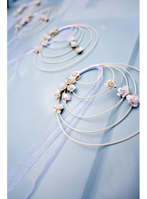 4 décorations circulaires avec roses blanches en rotin pour chaise