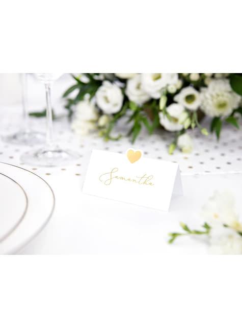 10 marcasitios para mesa blancos con corazón dorado de papel