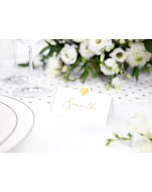 Set of 10 White Paper Place Cards with Gold Heart