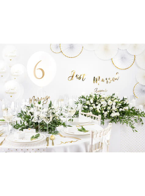 10 marcasitios para mesa blancos con corazón dorado de papel - comprar