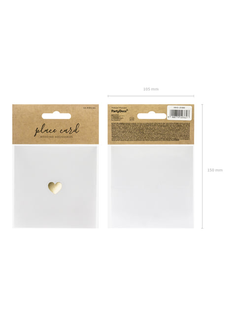 10 White Paper Place Cards with Gold Heart