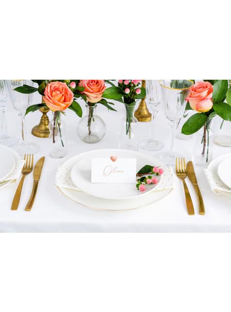 10 marcasitios para mesa blancos con corazón oro rosa de papel - para tus fiestas